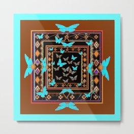 Turquoise-Chocolate Brown Western Art Metal Print