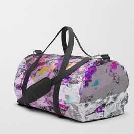 vintage psychedelic triangle polygon pattern abstract in purple pink yellow blue Duffle Bag