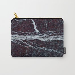 Black marble with white vains marble print luxuous real rock marble surface texture Carry-All Pouch