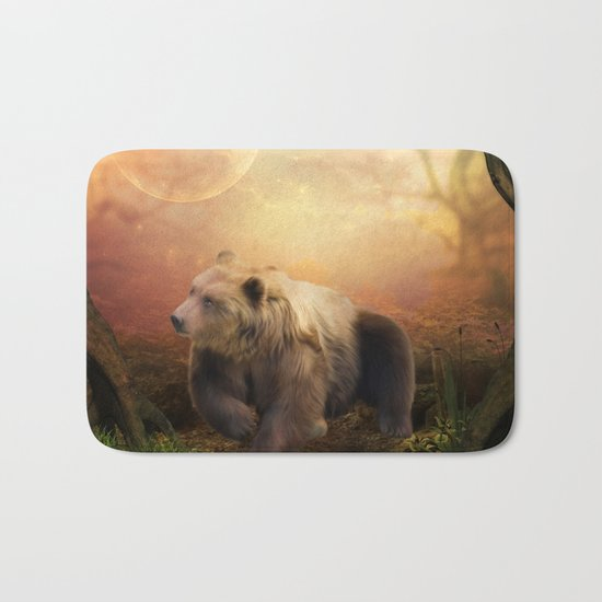 Awesome bear in the night Bath Mat