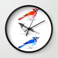 jay fleck Wall Clocks featuring Red jay, white jay, blue jay. by The animals moved to - society6.com/dian