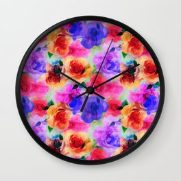 Colorful abstract modern roses flowers pattern Wall Clock