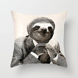 Gentleman Sloth in Smart Posture Throw Pillow