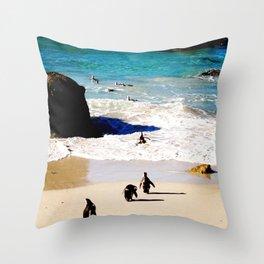 Boulders Beach Penguins Throw Pillow