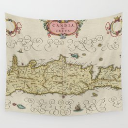 Vintage Map of Crete Greece (1665) Wall Tapestry