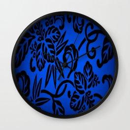 Deep Blue Japanese Flowers Wall Clock