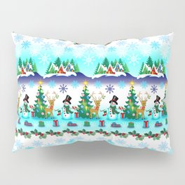 Christmas, Snowman Lawn Party with Friends Pillow Sham