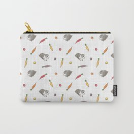 Carrot and Silkie Guinea Pig pattern in White Background Silkie Guinea Pigs illustration Carry-All Pouch