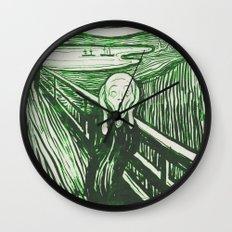 The Scream's Haze (green) Wall Clock