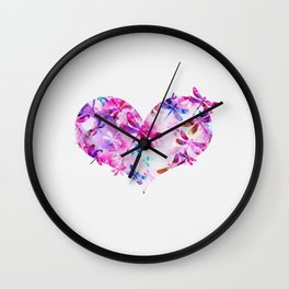 Dragonfly Heart- Pink and Blue Wall Clock