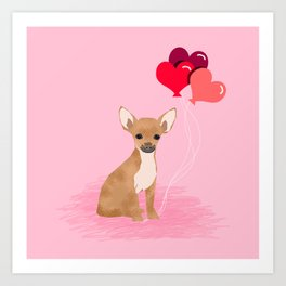 Chihuahua valentines day love hearts dog breed gifts cute chiwawa balloons pure breed Art Print
