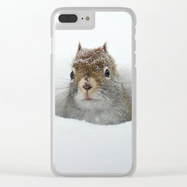 Cute Pop-up Squirrel in the Snow Clear iPhone Case