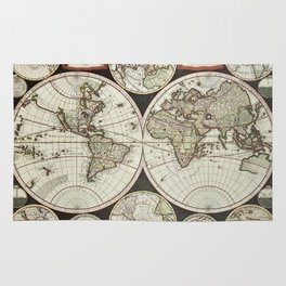 Vintage map of the World 1696 Rug