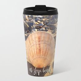 """""""Eat, beach, sleep"""" California sandy beach with seashell photo Travel Mug"""