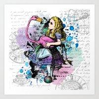 Alice in Wonderland collage Art Print