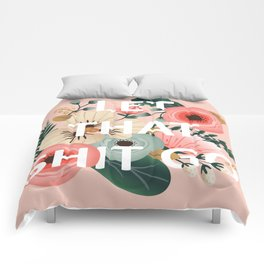 LET THAT SHIT GO - Sweary Floral (peach) Comforters