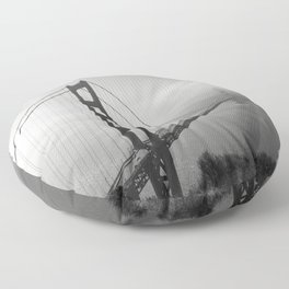 The Golden Gate Bridge In A Mist Floor Pillow