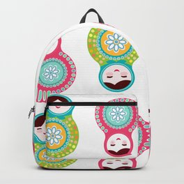 dolls matryoshka on white background, pink and blue colors Backpack