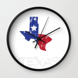 Proud to be Texas State Map Outline Distressed Wall Clock