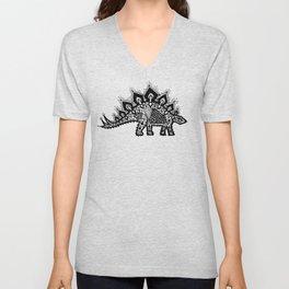 Stegosaurus Lace - Black / Grey - Unisex V-Neck