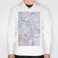 kansas Hoodies featuring Kansas city map by MapMapMaps.Watercolors