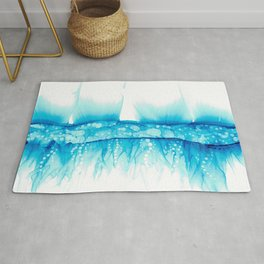 Blue Splash: Original Abstract Alcohol Ink Painting Rug