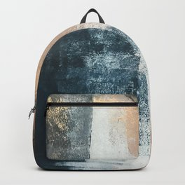 Honey 1: a pretty, minimal abstract in midnight blue, rose gold, and white Backpack