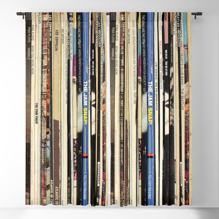 Classic Rock Vinyl Records Blackout Curtain