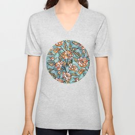 Chalk Pastel Peonies in Apricot on Soft Blue Unisex V-Neck
