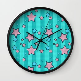 Pink star on turquoise background Wall Clock