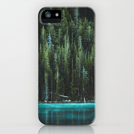 Nature Photo - Turquoise Blue Lake and Tall Pines iPhone Case
