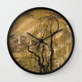 Six Panel Japanese Gold Leaves And Trees Wall Clock