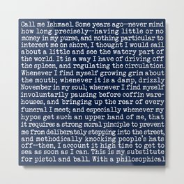 Moby Dick Opening Paragraph in White and Nautical Navy Blue Literary Typography Metal Print