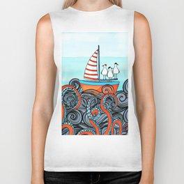 Seagull and little boat Biker Tank