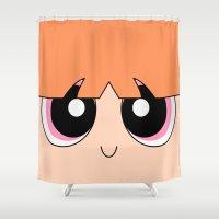 powerpuff girls Shower Curtains featuring Blossom -The Powerpuff Girls- by CartoonMeeting