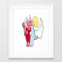lesbian Framed Art Prints featuring Angel/devil lesbian kiss by Nehalennia