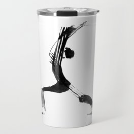 Moder black and white, minimalist ink figure yoga drawing, yoga illustration, yoga pose, yoga art Travel Mug