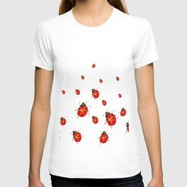 ABSTRACT RED LADY BUGS CRAWLING ON WHITE COLOR T-shirt
