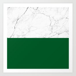 emerald green and white marble Art Print