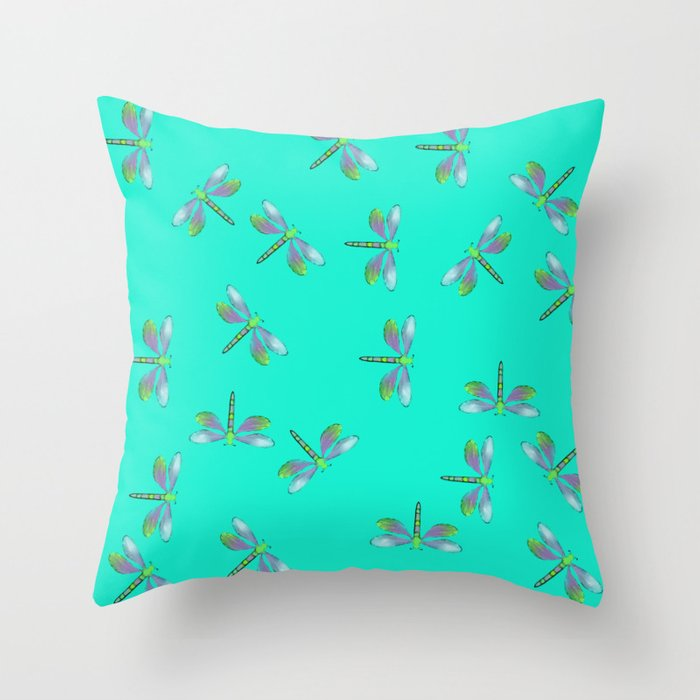Dragonflies In Aqua and Purple Throw Pillow