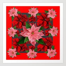 DECORATIVE  RED & PINK POINSETTIAS CHRISTMAS ART Art Print