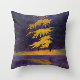 Bois de Boulogne, Paris, France Maidenhair Autumn landscape painting by Félix Vallotton Throw Pillow