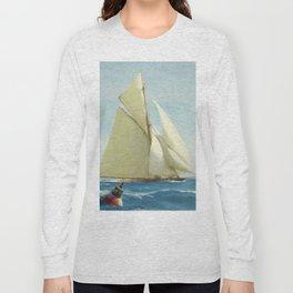 Vintage Sailing Sloop Yacht Painting (1910) Long Sleeve T-shirt