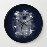 tardis Wall Clocks featuring Tardis by Zach Terrell