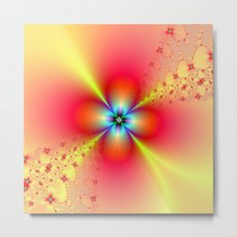 Floral Sprays in Red and Yellow Metal Print