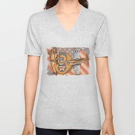 Aviation Pinups - P-51 Mustang Unisex V-Neck