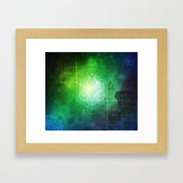 Abstract Deep Space Portal Blue-Green Framed Art Print