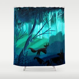 Shadow Wolves Stalk The Silver Wood Shower Curtain