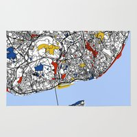 mondrian Area & Throw Rugs featuring Lisbon mondrian by Mondrian Maps