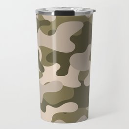 Green Gray Camouflage Pattern Travel Mug